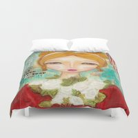 emma watson Duvet Covers featuring Emma by Moki