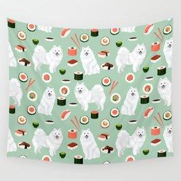 Japanese Spitz sushi kawaii dog portrait custom pet lover pattern by pet friendly Wall Tapestry