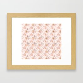 Pink Peony Kiss Floral Pattern Framed Art Print