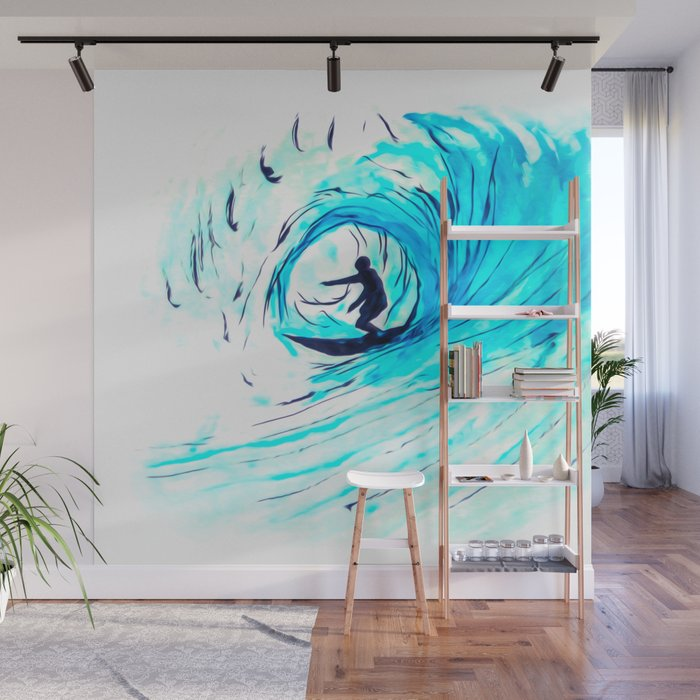 Solo Surfing The Big Blue Wave Wall Mural By Brucestanfieldartistpainter Society6