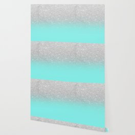 Modern girly faux silver glitter ombre teal ocean color bock Wallpaper