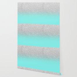 Modern girly faux silver glitter ombre teal ocean color bock Wallpaper