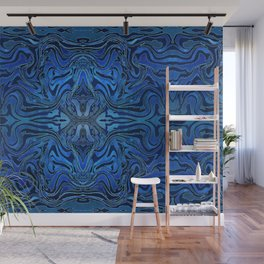 Blue Velvet Silk Watercolor Pattern Wall Mural