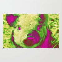 piglet Area & Throw Rugs featuring Diabolic PIGLET by MehrFarbeimLeben