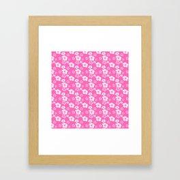 Pink Hibiscus Honu Hawaiian Pattern Framed Art Print