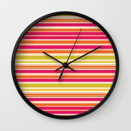 Stripes (Parallel Lines) - Orange Pink Green White Wall Clock