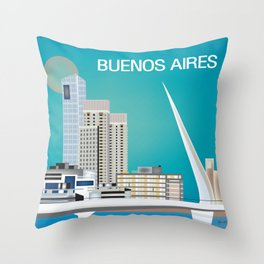 Buenos Aires, Argentina - Skyline Illustration by Loose Petals Throw Pillow