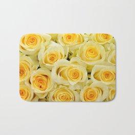 soft yellow roses close up Bath Mat