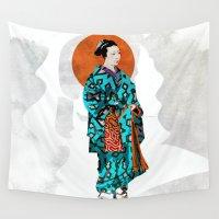 geisha Wall Tapestries featuring Geisha by Steve W Schwartz Art