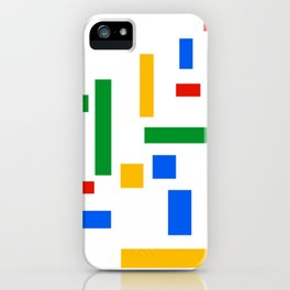 Abstract Google Art Red Green Blue Yellow on White iPhone Case