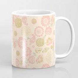 Peach cream spring meadow pastel floral pattern Coffee Mug