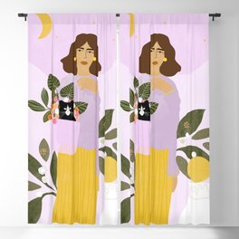 Shopping with Cat Purple Blackout Curtain