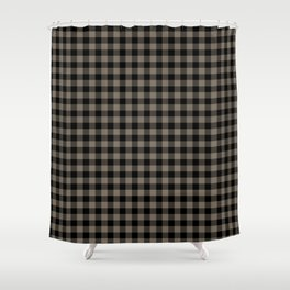 Classic Sandstone Brown Country Cottage Summer Buffalo Plaid Shower Curtain
