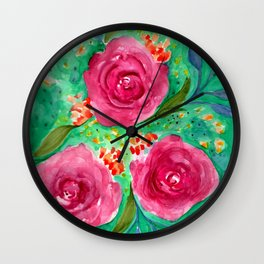Green Loose Florals Wall Clock