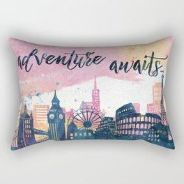 Adventure Awaits Watercolor Rectangular Pillow