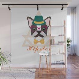 Hipster pug Wall Mural