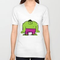 hulk V-neck T-shirts featuring Hulk by Remco Drijver