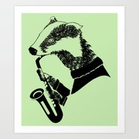 saxophone Art Prints featuring Badger Saxophone by mailboxdisco