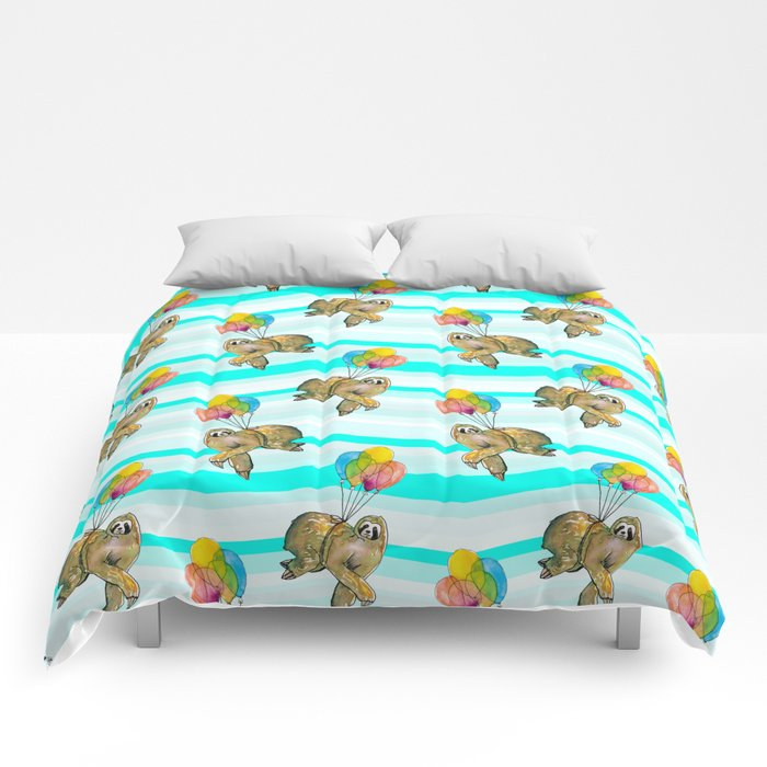 sloths in the air Comforters