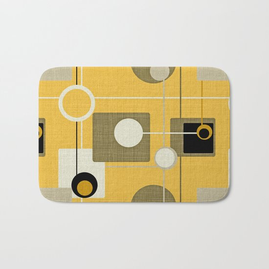orbs and square gold yellow Bath Mat
