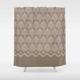 Coffee Color Damask Chenille with Lacy Edge Shower Curtain