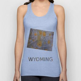 Wyoming map outline Yellow brown spots watercolor illustration Unisex Tank Top