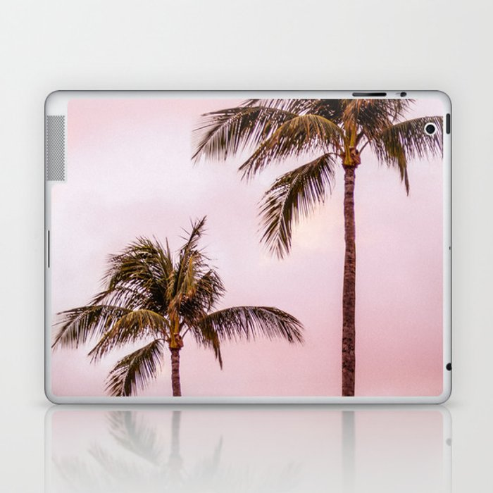 Palm Tree Photography | Landscape | Sunset Unicorn Clouds | Blush Millennial Pink Laptop & iPad Skin