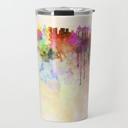 Rio de Janeiro skyline in watercolor background Travel Mug