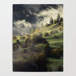 Twilight Fog Settling on Mountain Village Poster