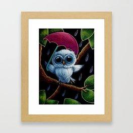 TINY BLUE OWL DANCING IN THE RAIN ILLUSTRATION Framed Art Print