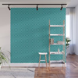 Tanager Turquoise and Teal Blue Duo Tone Repeat Pattern Wall Mural