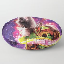 Space Cat Llama Sloth Riding Taco Floor Pillow