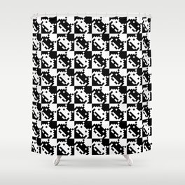 Black and white invaders pattern Shower Curtain
