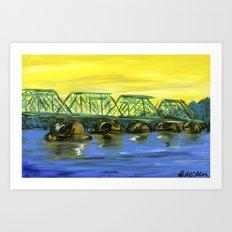 New Hope-Lambertville Bridge Art Print