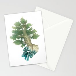Pine Tree and Dioptase Crystals Stationery Cards