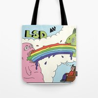 lsd Tote Bags featuring LSD by My Big Fat Brand