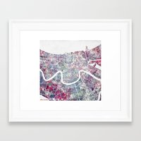 new orleans Framed Art Prints featuring New Orleans  by MapMapMaps.Watercolors
