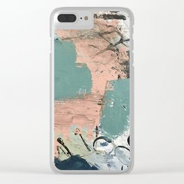 13th and Grant: an abstract mixed media piece in peach green blue and white Clear iPhone Case