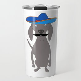 Cinco de Weimo Grey Ghost Weimaraner Dog Hand-painted Pet Drawing Travel Mug