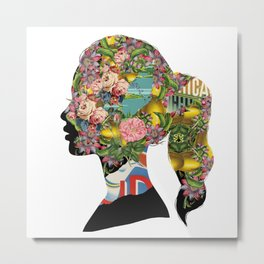 Flowery Girl Metal Print