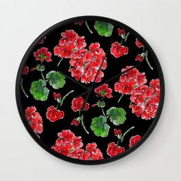 Red Geranium with black background Wall Clock