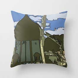 Windmill Comicked Throw Pillow