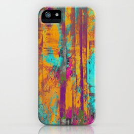 Burst Of Energy! - Abstract, orange, blue, pink, purple and green oil painting  iPhone Case