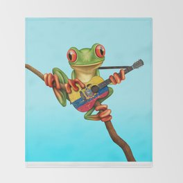 Tree Frog Playing Acoustic Guitar with Flag of Ecuador Throw Blanket