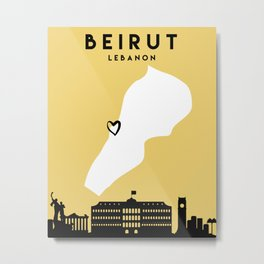 BEIRUT LEBANON LOVE CITY SILHOUETTE SKYLINE ART Metal Print
