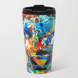 Colorful Cow Art - Mootown - By Sharon Cummings Metal Travel Mug
