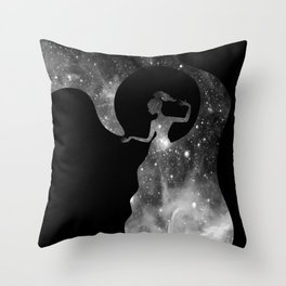 Galaxy From Within BNW Throw Pillow