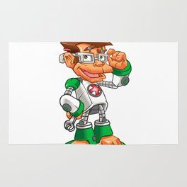Cartoon Monkey Nerd robot Rug
