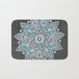 Mermaid Mandala on Deep Gray Bath Mat