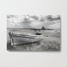 Lindisfarne Boat and Castle, Northumberland Metal Print